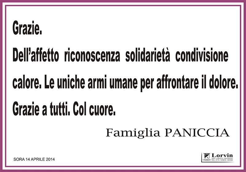 SORA WEB - 779 - Ringraziamento Necrologi Famiglia Paniccia - Locandina