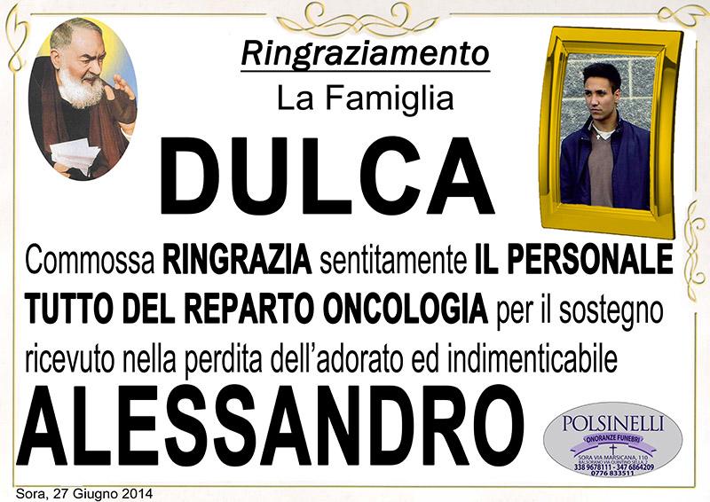 SORA WEB - MHMAGAZINE - Necrologio Ringraziamenti Dulca Alessandro