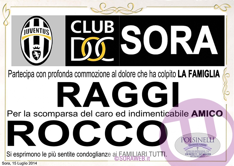 Necrologio - Rocco Raggi - PARTECIPAZIONE JUVENTUS CLUB SORA