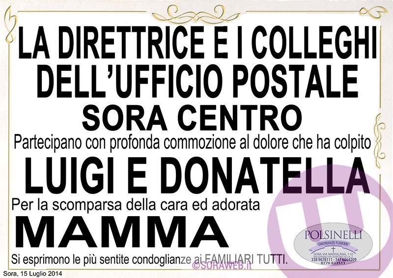 Necrologio - Rocco Raggi - PARTECIPAZIONE UFFICIO POSTALE