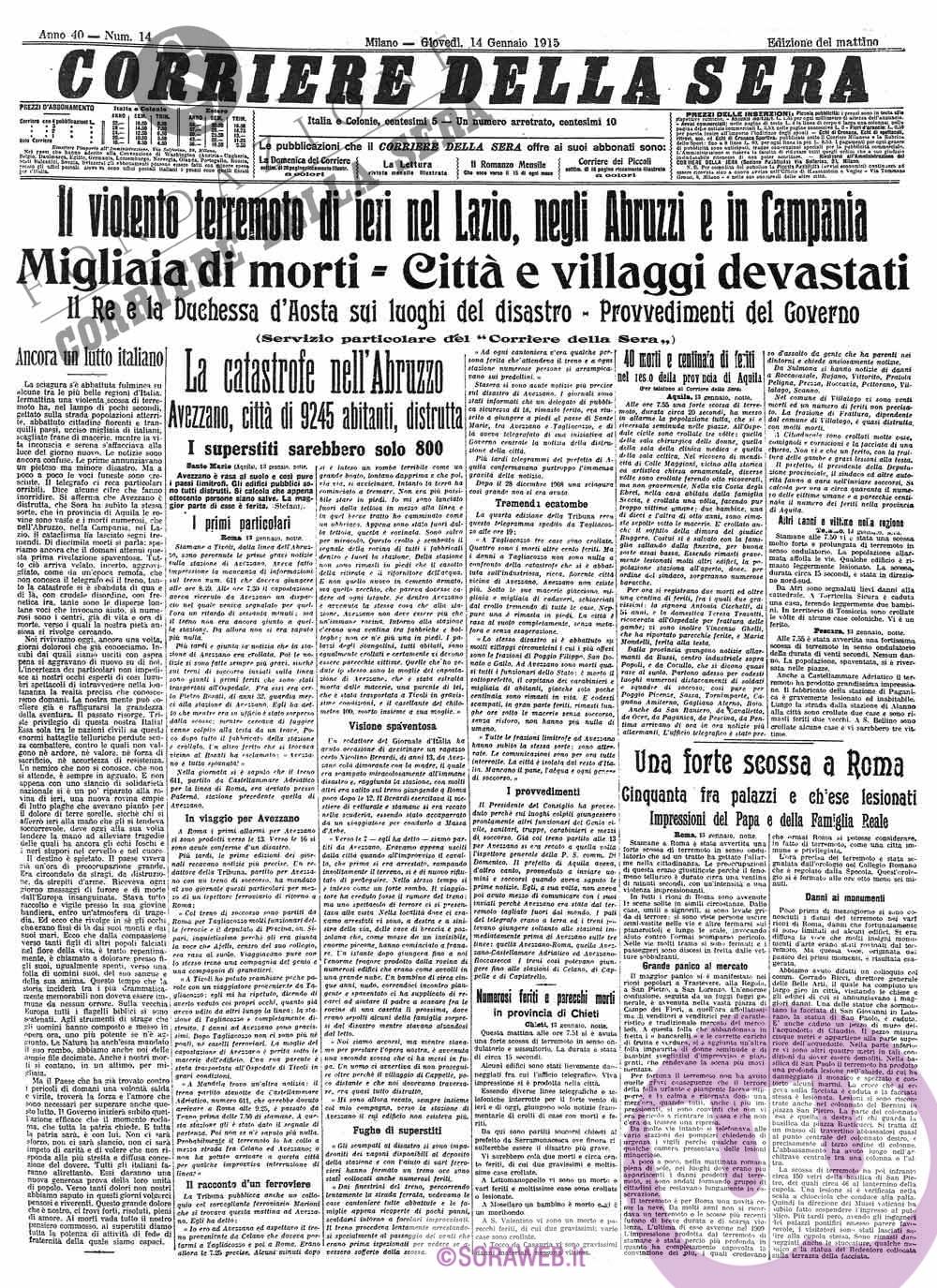 SORA WEB - Sisma 1915 Avezzano Giornale Corriere della sera