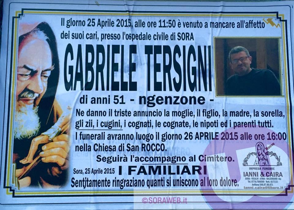 Gabriele Tersigni - necrologio