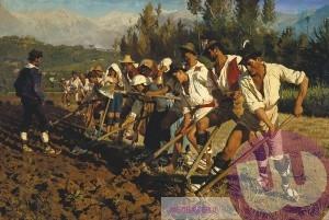 Kroyer, P.S. Italian Fieldworkers.Abruzzerne. 1880 Fyn Kunstmuseum-italienske-markarbejdere